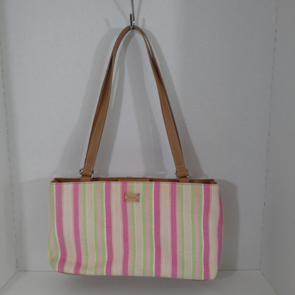 Relic Handbags - Relic womens handbag Pink green tan stripes